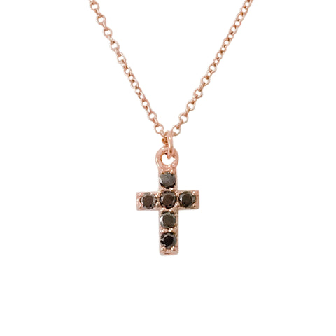 14K Gold & Pavé Black Diamond Small Cross Necklace