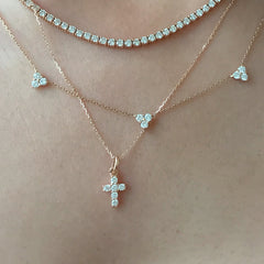 14K Gold Pavé Diamond Small Cross Necklace