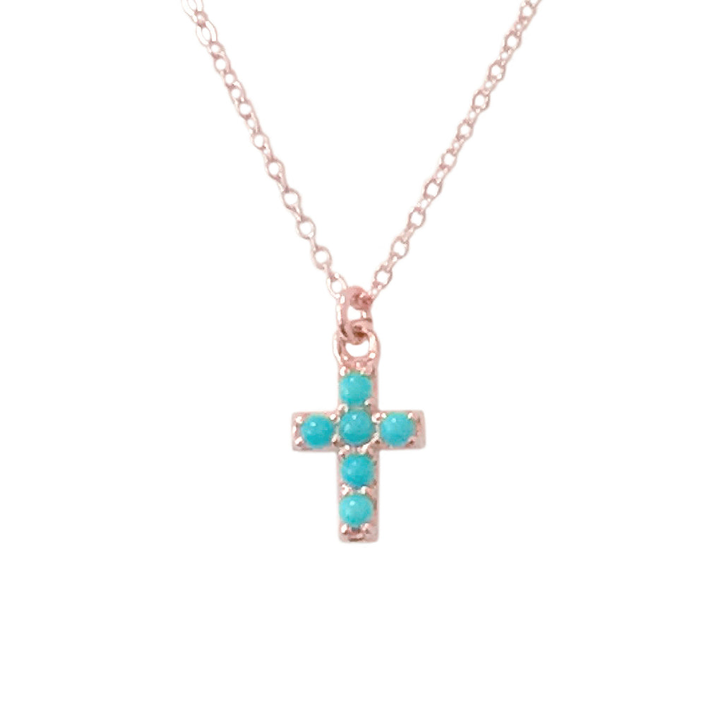 14K Gold Pavé Turquoise Cross Necklace, Small Size