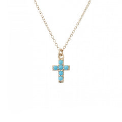 14K Gold & Pavé Turquoise Small Cross Necklace