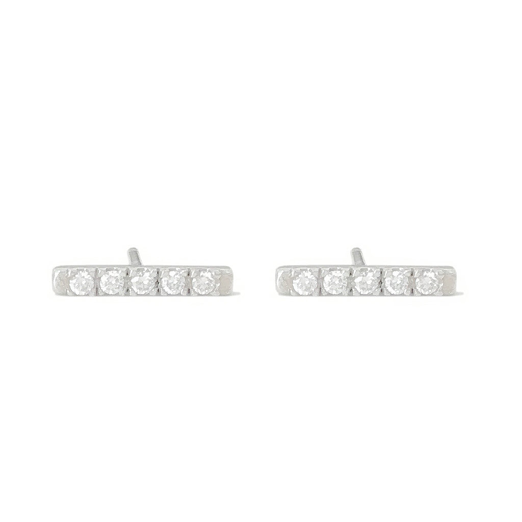 14K Gold Small Pavé Diamond Bar Stud Earrings