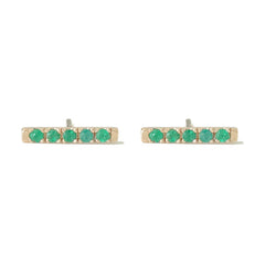 14K Gold Small Pavé Emerald Bar Stud Earrings