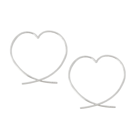 14K Gold Small Size Heart Threader Wire Earrings ~ In Stock!