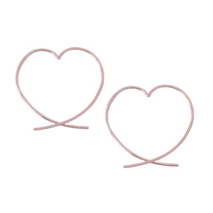 14K Gold Small Size Heart Threader Wire Earrings