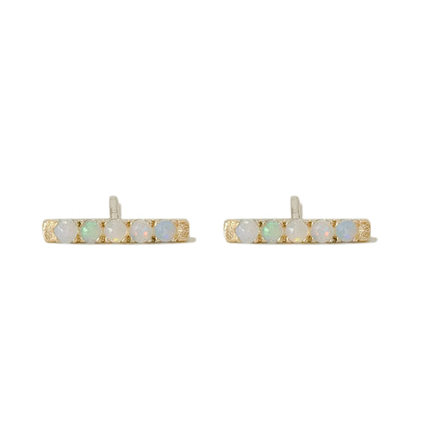 14K Gold Small Pavé Opal Bar Stud Earrings