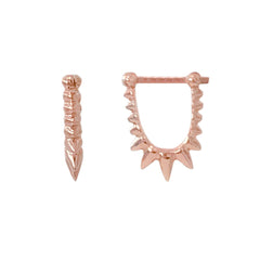 Spike Collection: 14K Gold Spike Huggie Hoop Earrings, Small Size ~ In Stock!