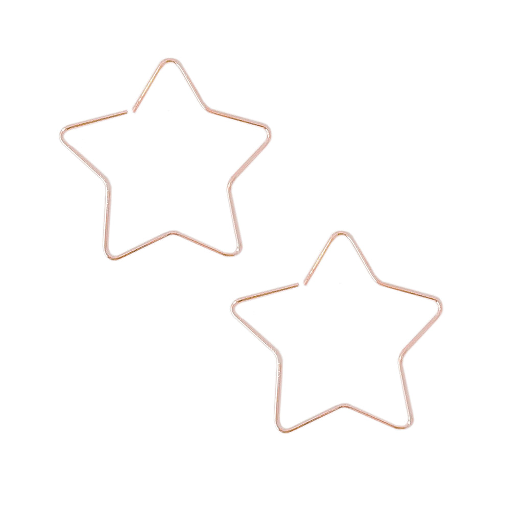 14K Gold Small Size Star Threader Wire Earrings