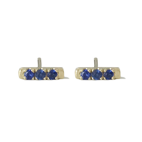 14K Gold XS Pavé Sapphire Bar Stud Earrings
