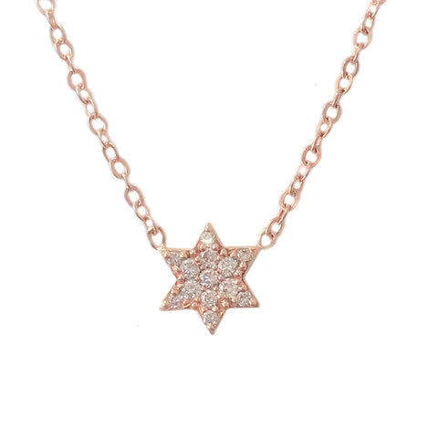 14K Gold Pavé Diamond Star of David Charm Pendant Necklace