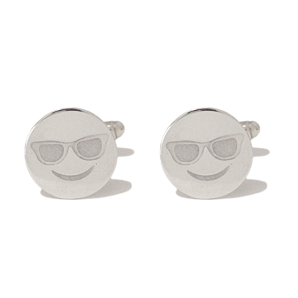 Sterling Silver Sunglasses Emoji Smiley Face Cufflinks