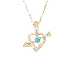14K Gold & Turquoise Pierced Arrow Heart Necklace