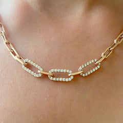 14K Gold Triple Diamond Thick Oval Link Necklace ~ Small Size Links