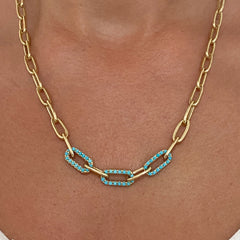 14K Gold Triple Turquoise Thick Oval Link Necklace