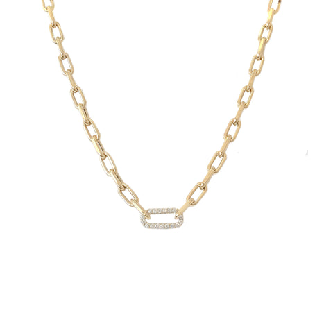14K Gold Diamond Thick Oval Link Necklace ~ Small Size Links