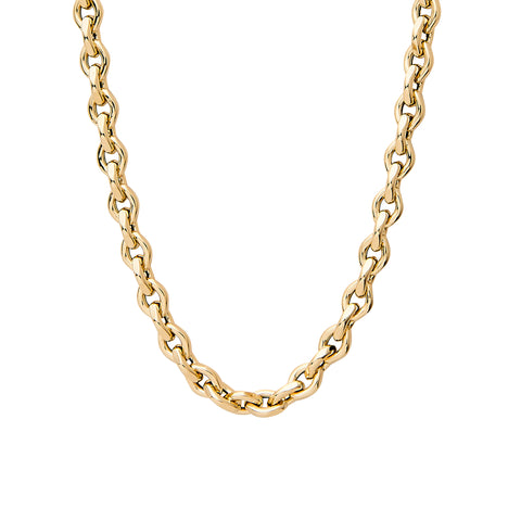 14K Gold Thick Marquise Diamond Cut Link Necklace ~ In Stock!