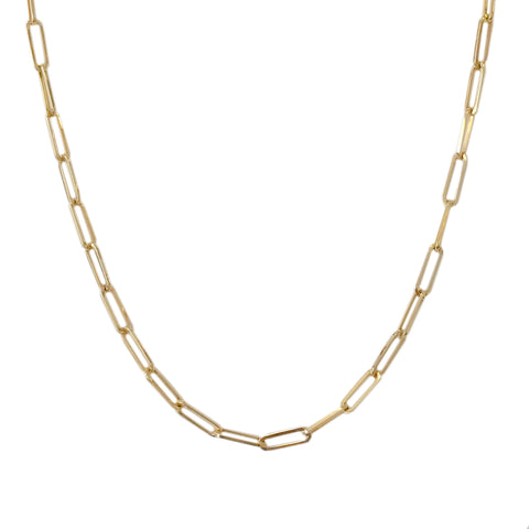 14K Gold Elongated Oval Link Chain Necklace, Large Size Link