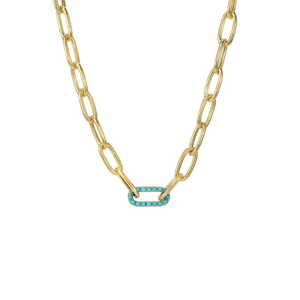 14K Gold Turquoise Thick Oval Link Necklace