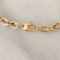 14K Gold Tuscan Thick Oval Link Necklace, Small Size Links ~ In Stock!