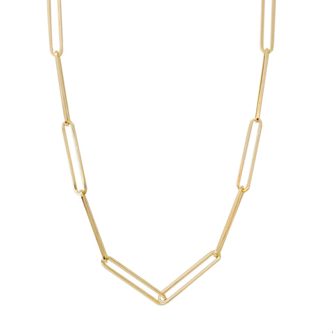 14K Gold Extra Elongated Oval Link Chain Necklace