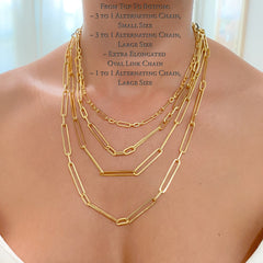 14K Gold Alternating 1 to 1 Elongated Oval Link Chain Necklace, Large Size