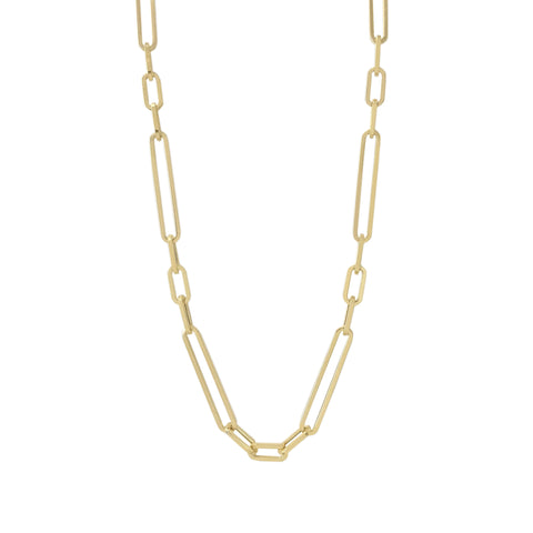 14K Gold Alternating Elongated Oval Link Chain Necklace