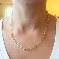 14K Gold Alternating 3 to 1 Elongated Oval Link Chain Necklace, Large Size ~ In Stock!