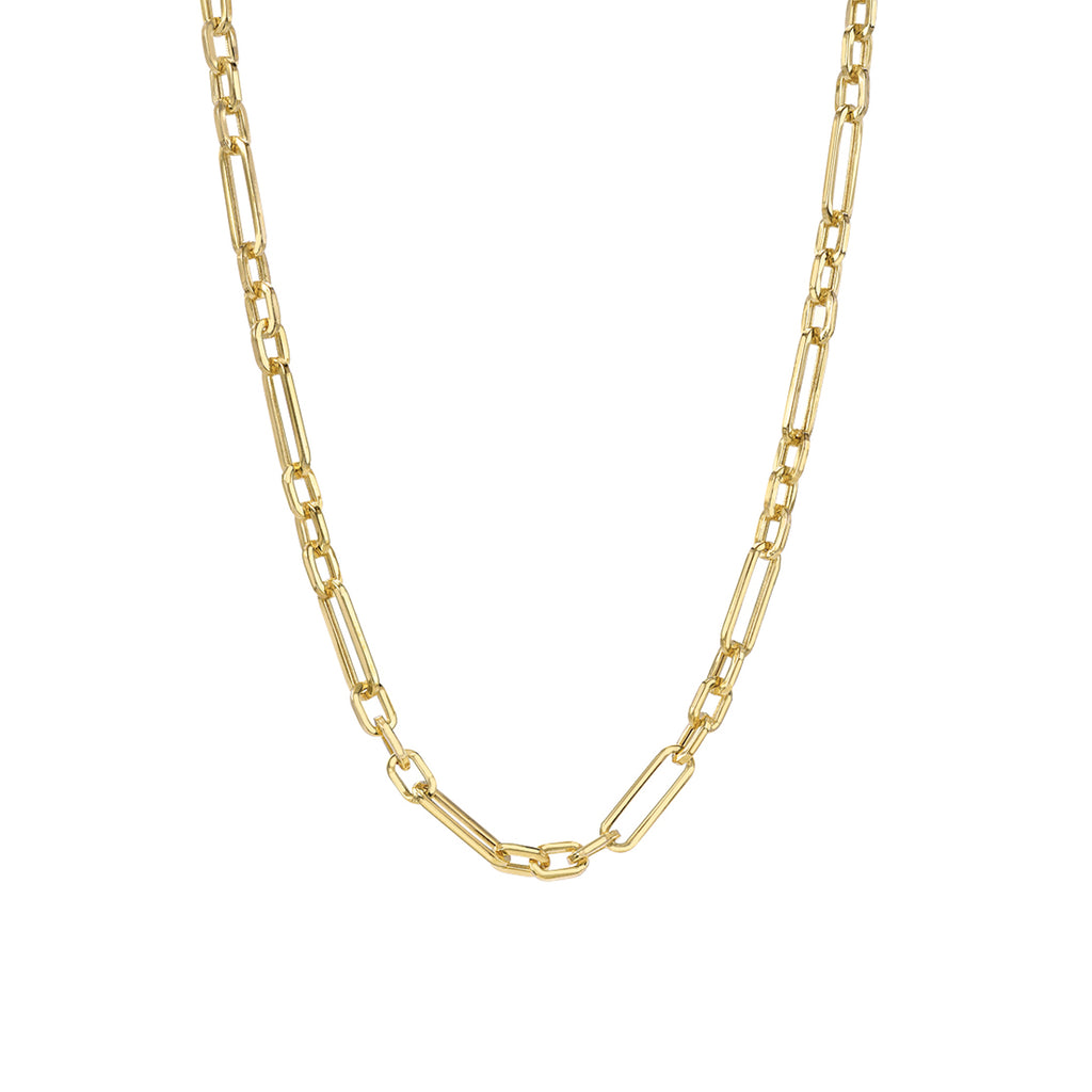 14K Gold Alternating 3 to 1 Elongated Oval Link Chain Necklace, Small Size