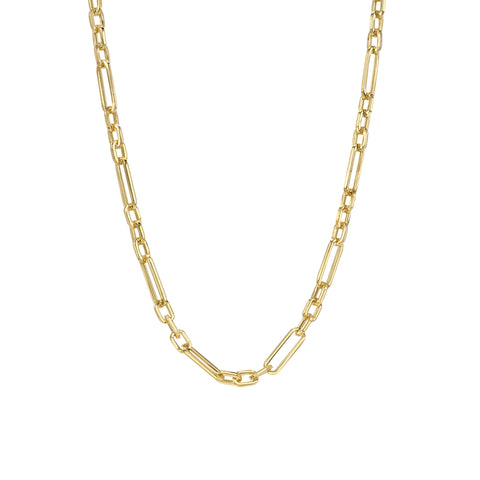 14K Gold Alternating 3 to 1 Elongated Oval Link Chain Necklace, Small Size ~ In Stock!