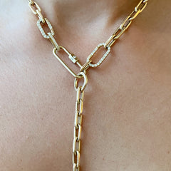 14K Gold Round Enhancer Thick Oval Link Lariat Chain Extender, Small Size Links