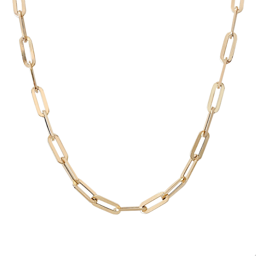 14K Gold Thick Elongated Oval Link Chain Necklace, XL Size Link