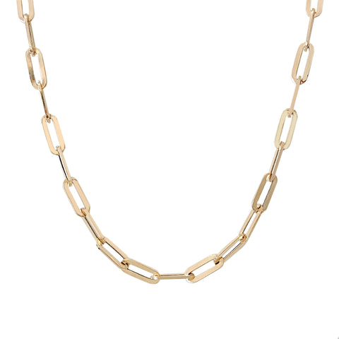14K Gold Elongated Oval Link Chain Necklace, XL Size Link