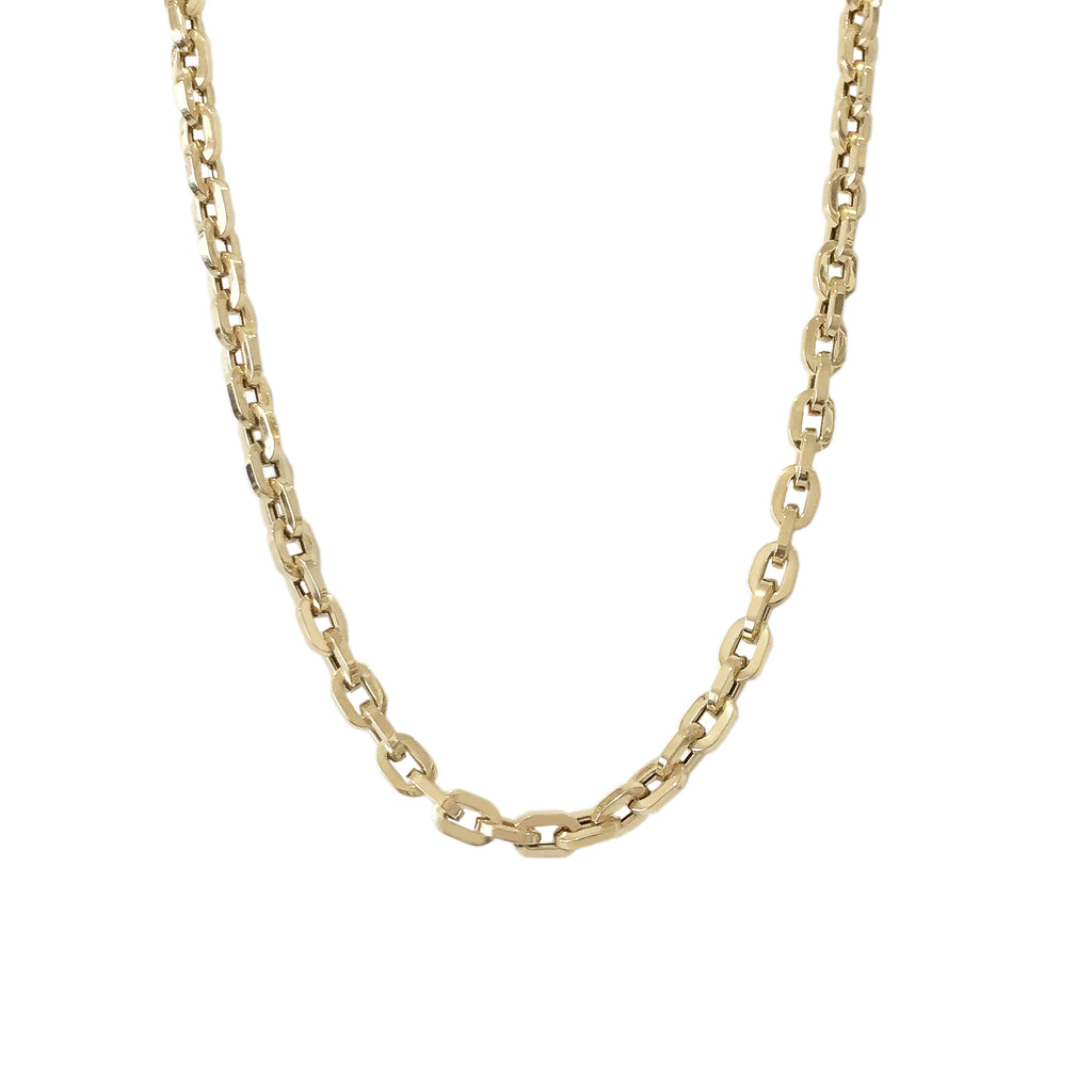 14K Gold Thick Flat Oval Link Necklace