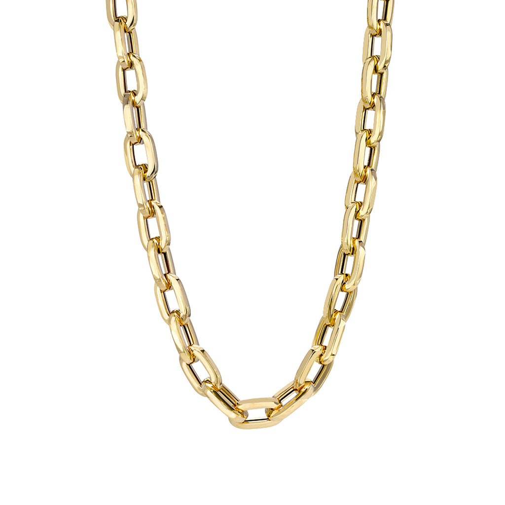 14K Gold Thick Flat Oval Link Necklace, Large Size Links