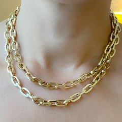 14K Gold Thick Flat Oval Link Necklace ~ In Stock!