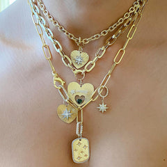 14K Gold Pavé Diamond Shooting Star Fluted Heart Medallion Necklace With Solitaire Tourmaline