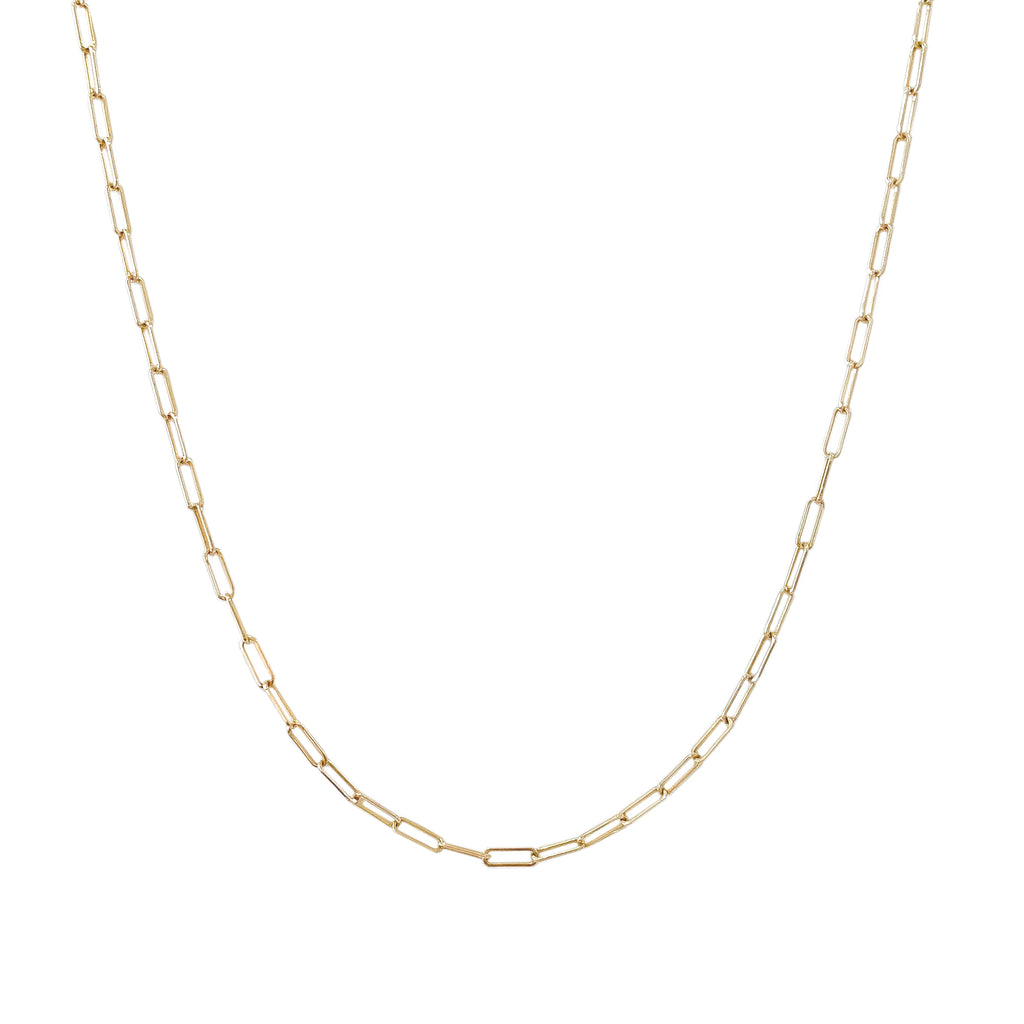 14K Gold Thin Elongated Oval Link Chain Necklace, Small Size Link