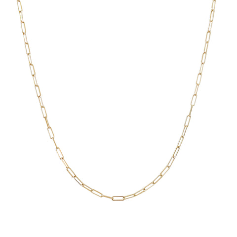14K Gold Elongated Oval Link Chain Necklace, Small Size Link