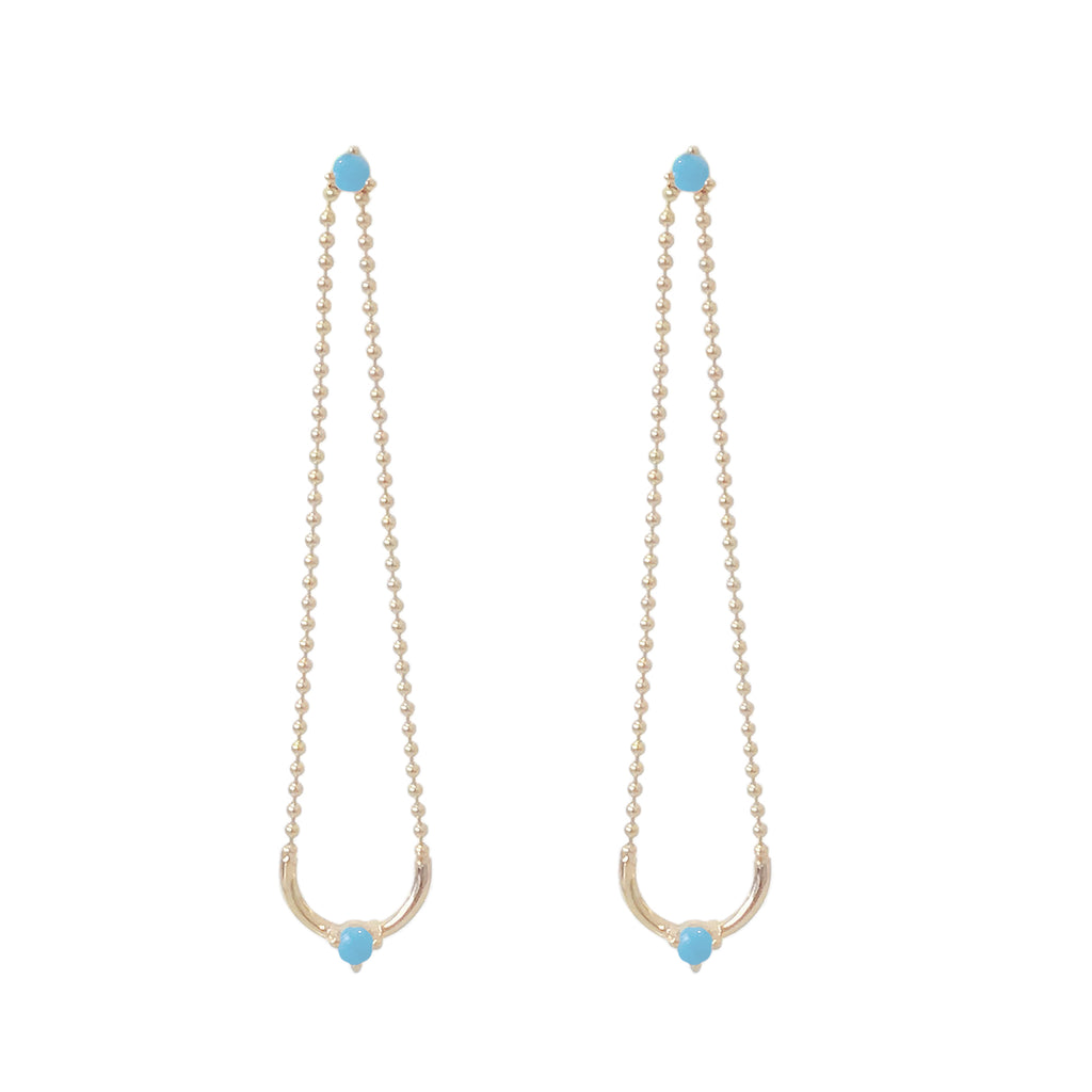 14K Gold Turquoise Ball Chain Dangle Swing Earrings ~ LIMITED EDITION
