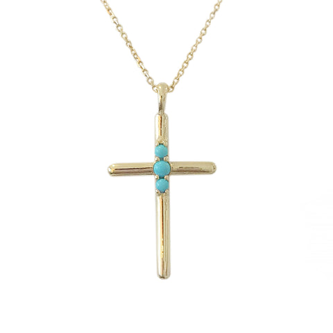 14K Gold Turquoise Cross Necklace ~ In Stock!