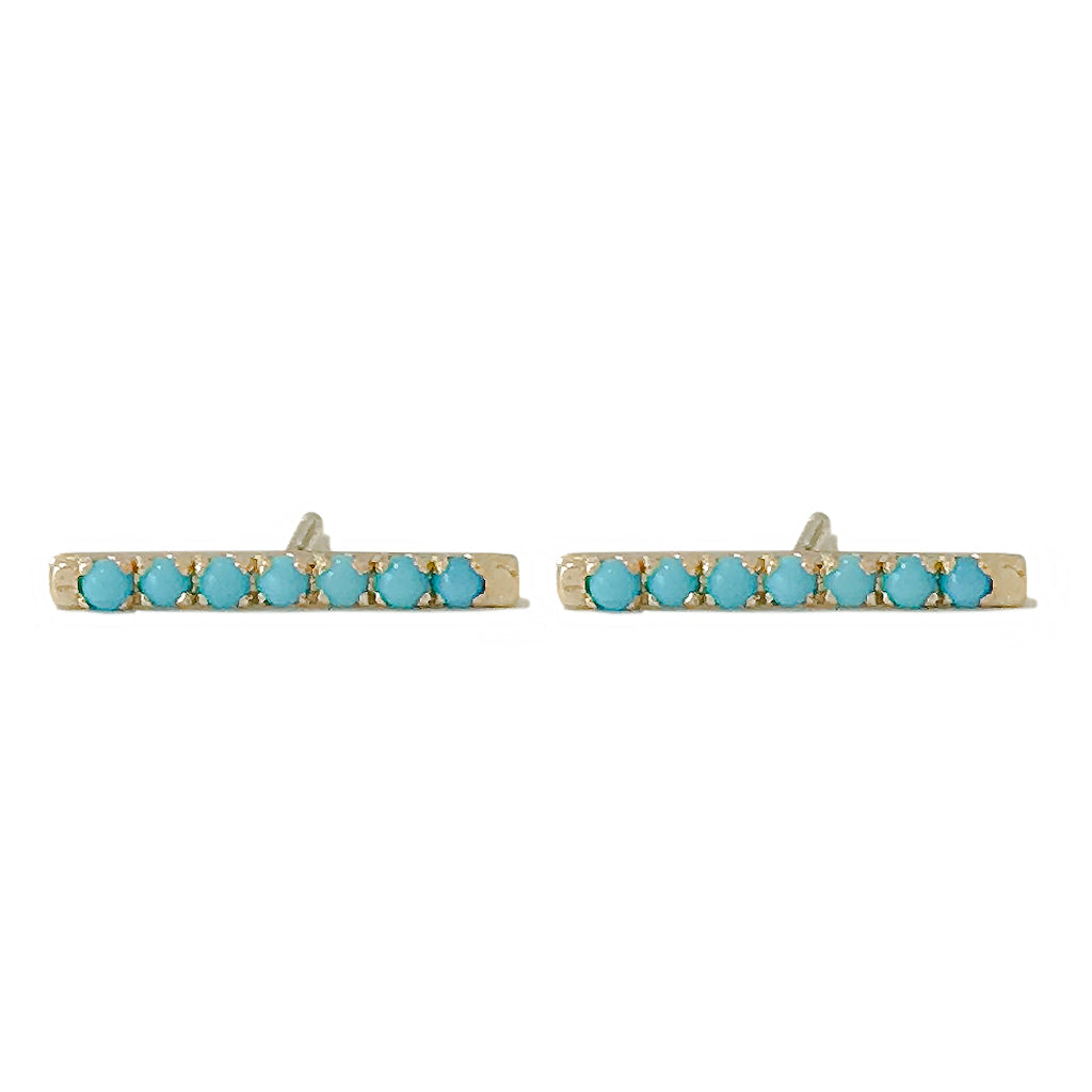 14K Gold Large Pavé Tuquoise Cabochon Bar Stud Earrings