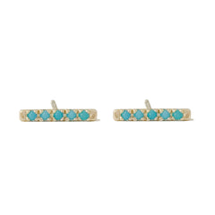 14K Gold Small Pavé Turquoise Bar Stud Earrings