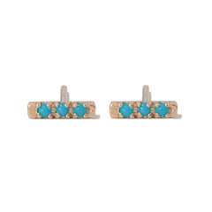 14K Gold XSmall Pavé Turquoise Bar Stud Earrings ~ In Stock!