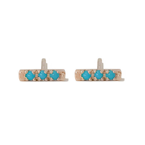 14K Gold XSmall Pavé Turquoise Bar Stud Earrings