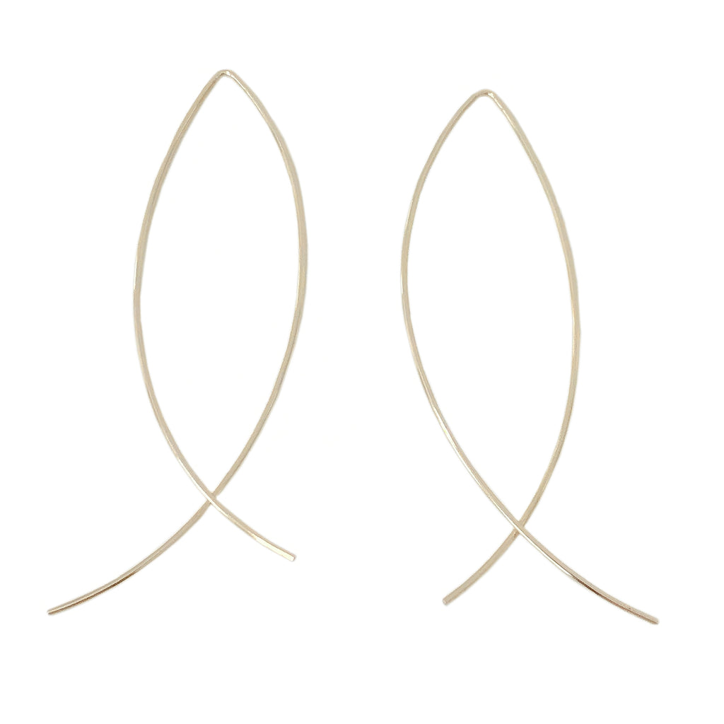 14K Gold XL Size Arch Threader Wire Earrings