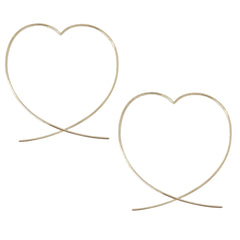 14K Gold XL Size Heart Threader Wire Earrings ~ In Stock!