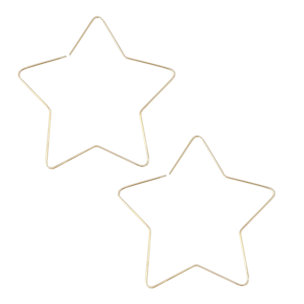 14K Gold XL Size Star Threader Wire Earrings