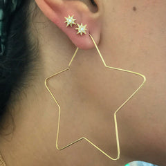 14K Gold Pavé Diamond Starburst Stud Earrings ~ In Stock!