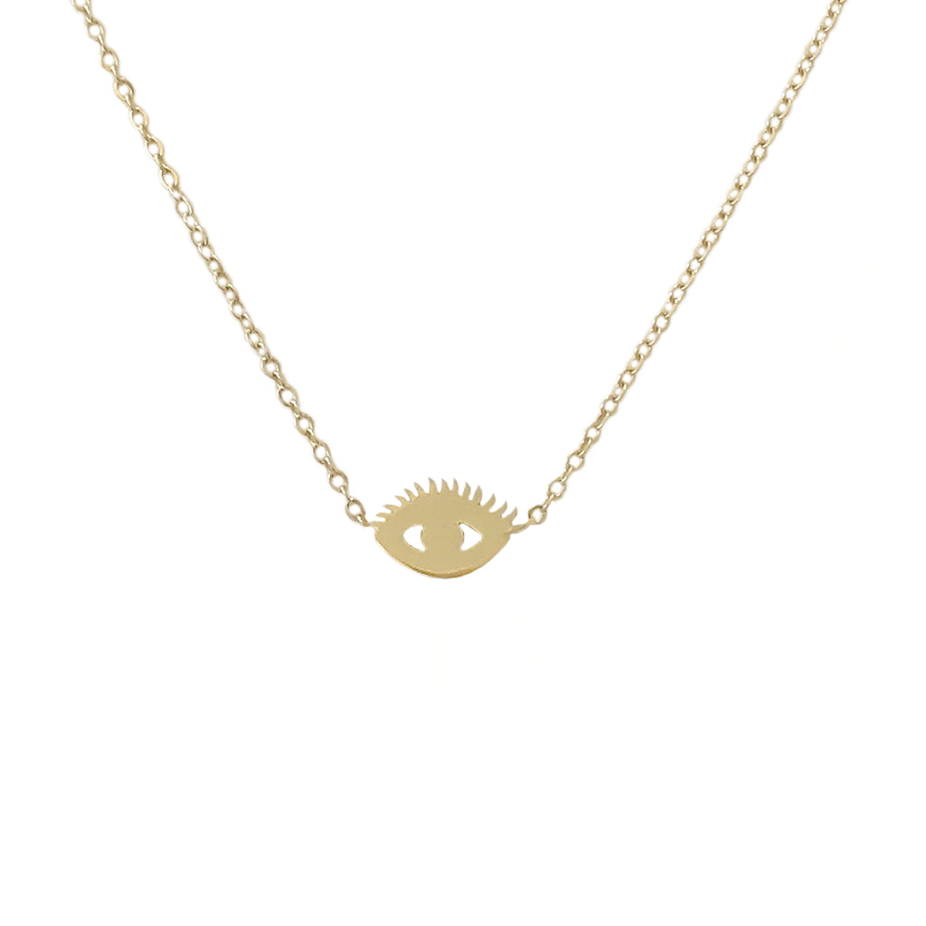 14K Gold Evil Eye with Lashes Necklace