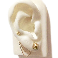 Spike Collection: 14K Gold Pyramid Spike Stud Earrings, XS Size ~ In Stock!