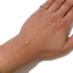 14K Gold Triple Diamond Finger Bracelet